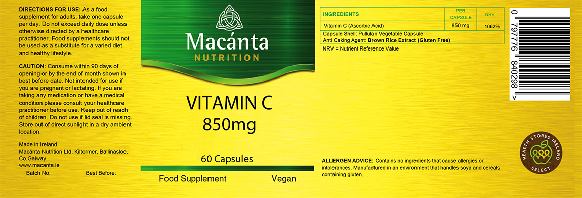 Vitamin C 850mg Label | Macánta Nutrition