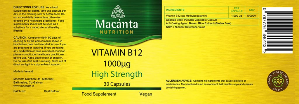 High Strength Vitamin B12 Label | Macánta Nutrition