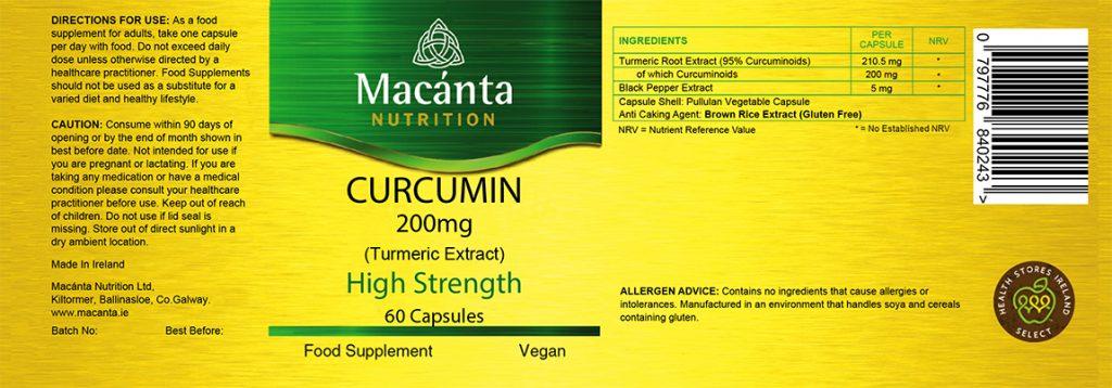 High Strength Curcumin Label | Macánta Nutrition
