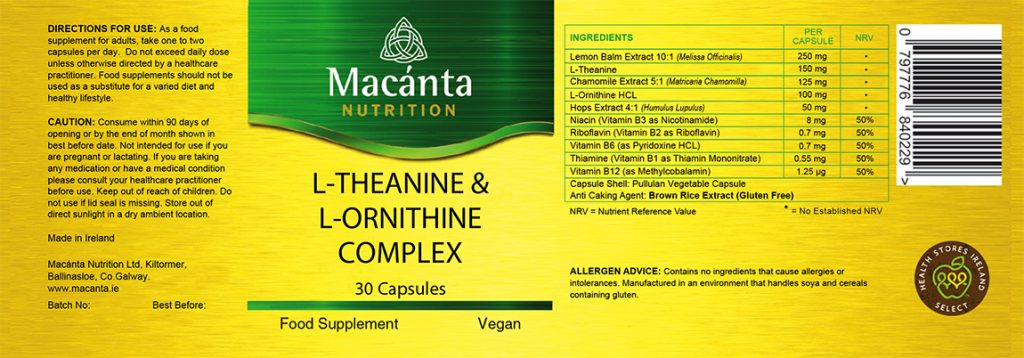 L-Theanine & L-Ornithine Label | Macánta Nutrition