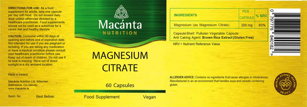 Magnesium Citrate Label | Macánta Nutrition