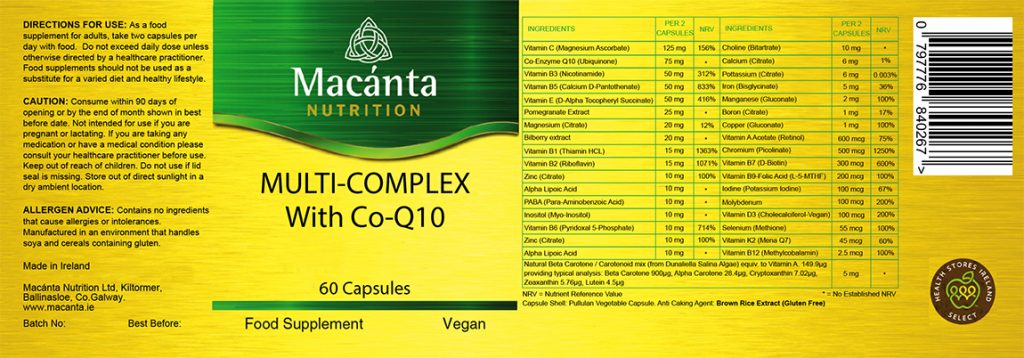 Multi-Complex with Co-Q10 Label | Macánta Nutrition