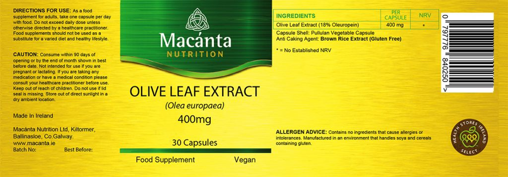 Olive Leaf Extract Label | Macánta Nutrition