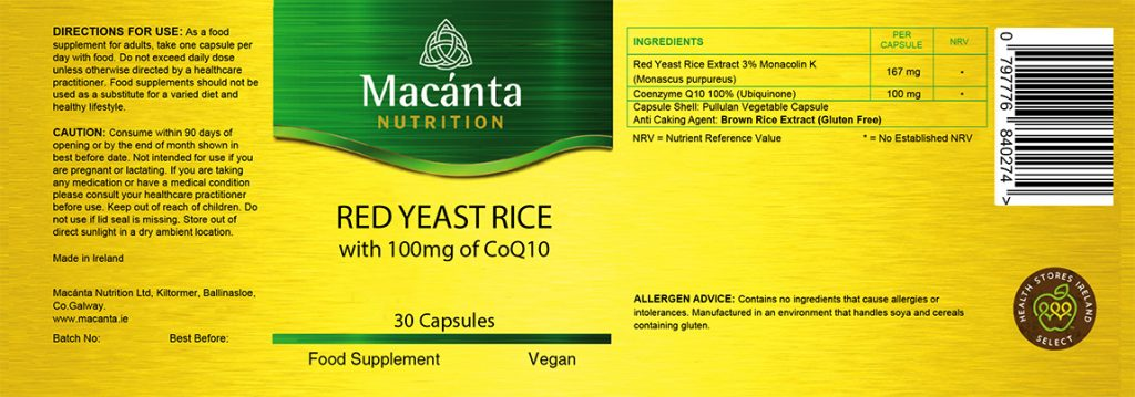 Red Yeast Rice with 100mg CoQ10 Label | Macánta Nutrition