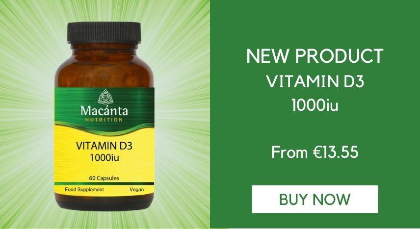 Vitamin D3 1000iu   Immune Boost   Macánta Nutrition   Irish Made Nutritional Supplements