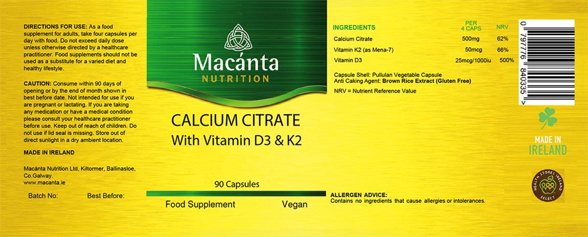 Calcium Citrate Label | Macánta Nutrition